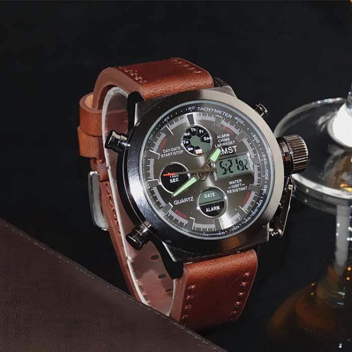 Армейские мужские наручные часы, кварцевые, с коричневым ремешком