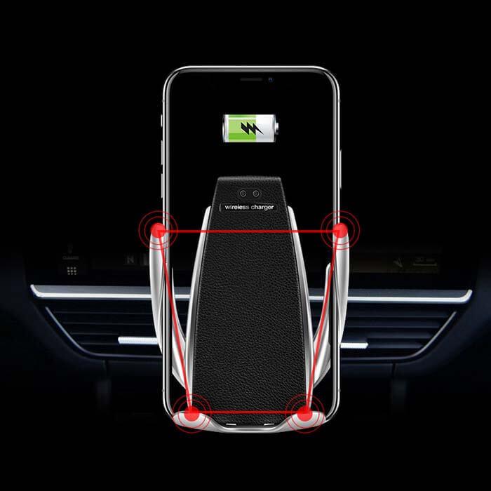 Показано, что держатель Smart Sensor Wireless Charger, умеет надежно фиксировать смартфон
