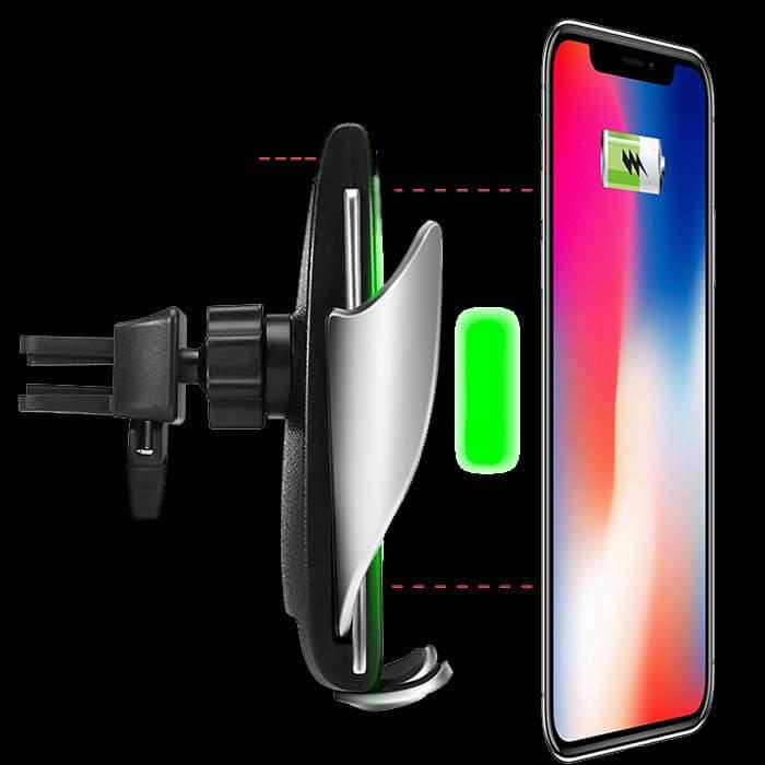 Показано, что держатель Wireless Charger оснащен технологией умного сенсора