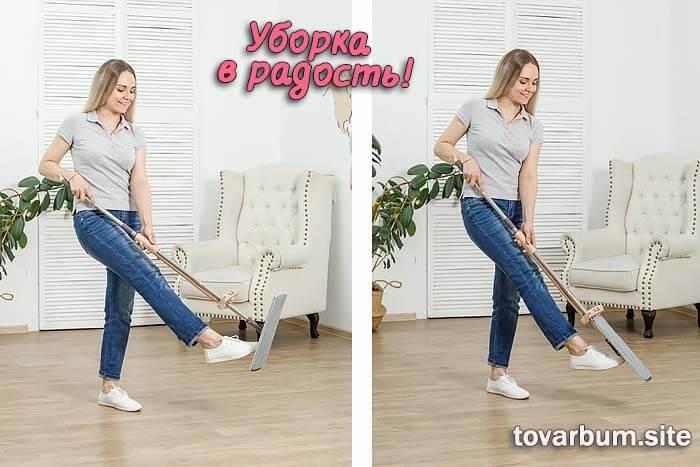 Девушка весело убирается в помещении. В руках у нее швабра-лентяйка Cleaner 360