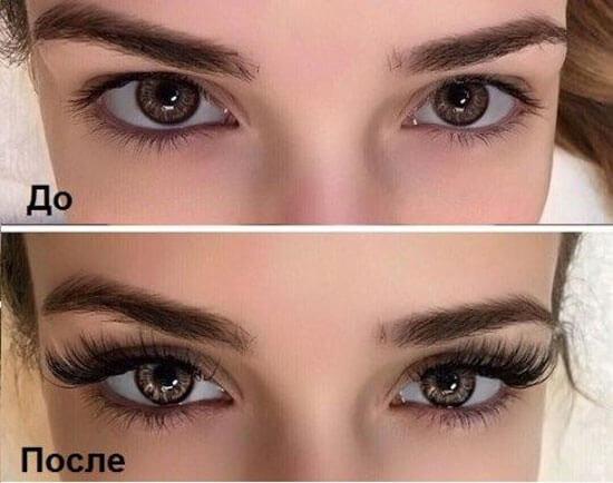 Девушка показывает свои глаза, ДО и ПОСЛЕ использования туши Xpress Control 4D
