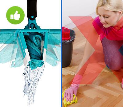 Коллаж о преимуществе использования швабры Titan Twist Mop перед мытьем полов руками.