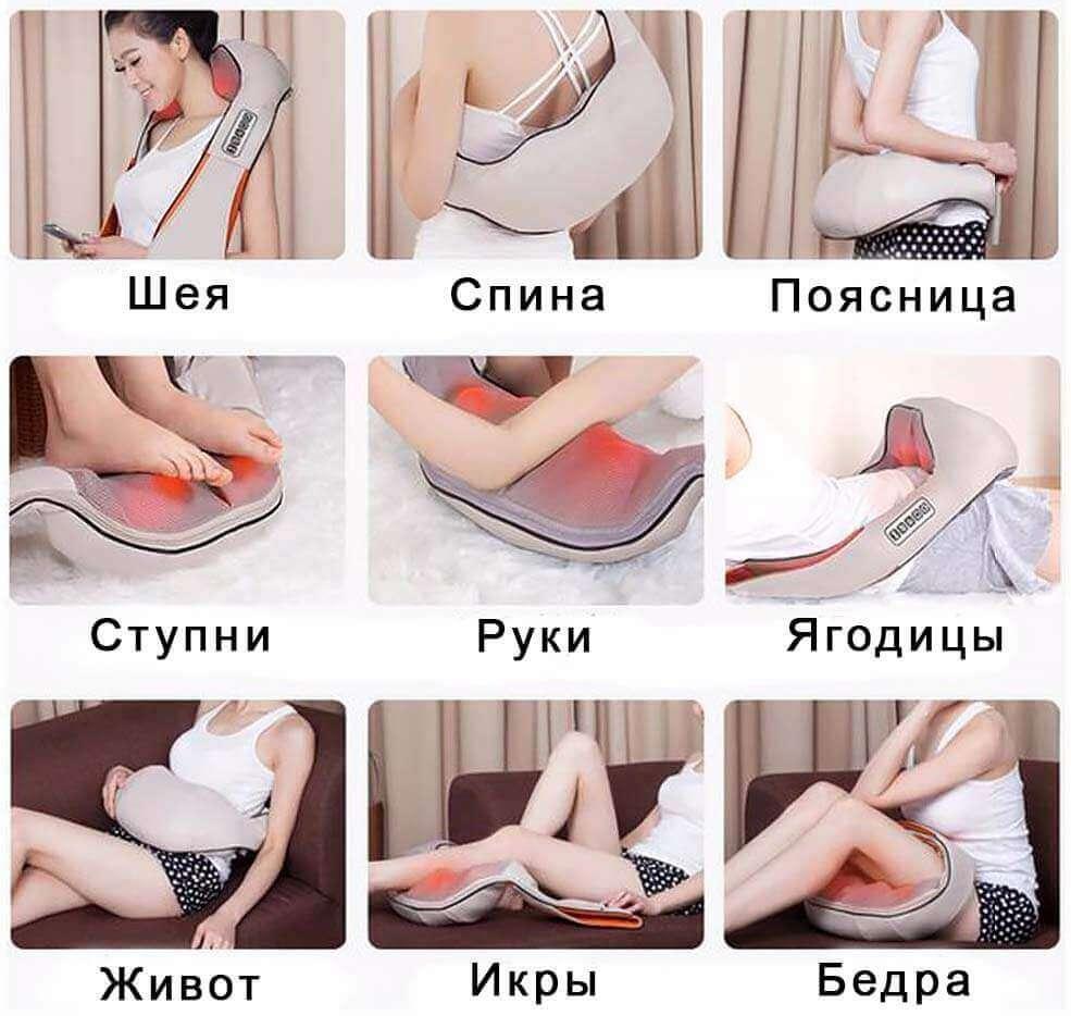 Зоны тела, где возможно использовать массажер для спины и шеи
